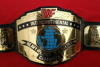 Wwf Intercontinental Wrestling Replica Belt With Red Logo In 4Mm Thick Brass!!