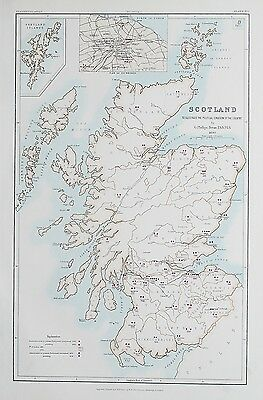1881 Scotland Map To Illustrate the Political Condition of the Country