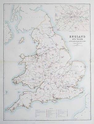 1881 ENGLAND & WALES Military System Forts Barracks Camps Prisons Map
