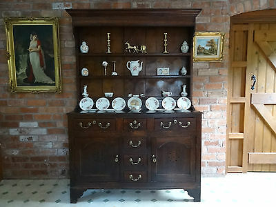 Magnificent All-Original Antique George Iii Welsh Oak Dresser & Plate Rack