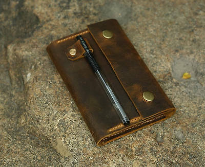 Distressed leather cover for MOLESKINE classic notebook Pocket size Gift Wrap