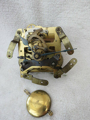 Vintage Haller Striking 8 Day Clock Movement Hands And Pendulum. Lot M