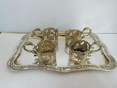 Stunning Antique Solid Silver Hannau Set Of 4 Cup Holders And Tray