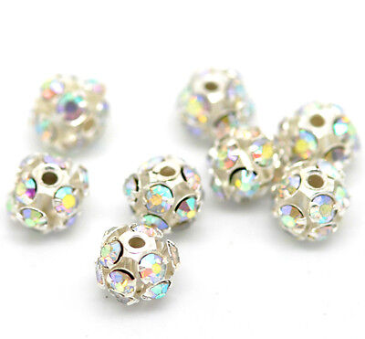 10 SILVER PLATED~FILIGREE AB RHINESTONE CHARMS/SPACER BEADS 6-7mm Earrings ()