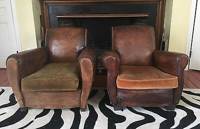Pair Antique Vintage Art Deco French Leather Club Chairs Distressed Restoration