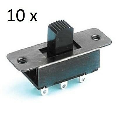 10 x Standard Slide Switches DPDT Solder Tag 2 x Fixing Holes
