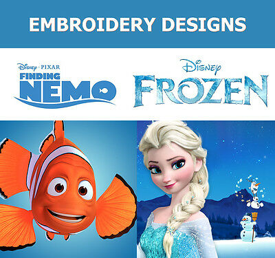 80 Disneys Finding Nemo & Frozen Embroidery Machine Designs Cd Pes Hus Brother