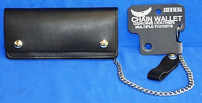 7 inch Chain Wallet Genuine Leather With Multiple Pockets