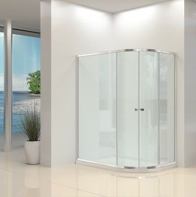 Offset Walk In Quadrant Shower Enclosure and Tray Corner Cubicle Glass Door