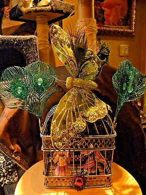 ARTIST MADE VICTORIAN FAIRY FANTASY BIRD CAGE With two Fairys.