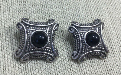 Vintage Style Earrings Silvertone & Black Stone Cast metal Dotted Square Clip On
