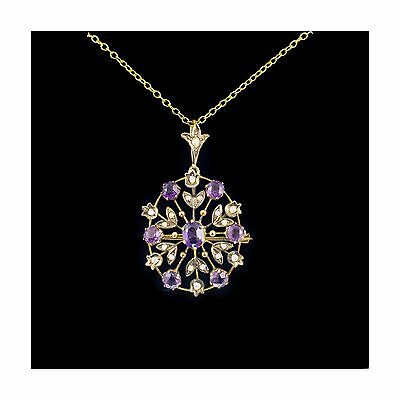 Antique Amethyst & Pearl Pendant Or Brooch 9Ct Gold