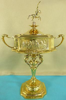Magnificent Solid Gold Trophy Cup Int'l Horse Show Olympia Horses Victory 1927