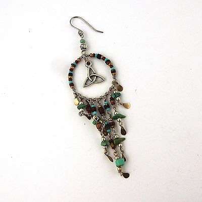 Beaded Celtic Cowgirl Southwest Earrings with Silver Trinity knots & turquoise