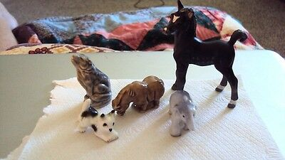 Mixed Lot of 5 Vintage Miniatures Horse Wolf Cat Elephant Japan WADE