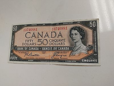 Bank of Canada - Banknote - Paper Money 1954 $50 Note A/H  Beattie/Coyne