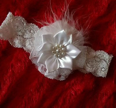 Pretty Lace Headband White Lace. & Tull With Pearl & Feather Trim Baby/reborn