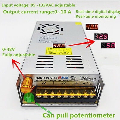 DC0-48V 10A 480W Adjustable Switching Power Supply with Digital Display