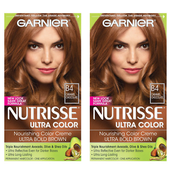 2 Pack Garnier Nutrisse Ultra Color Nourishing Creme Kit B4 Caramel Chocolate