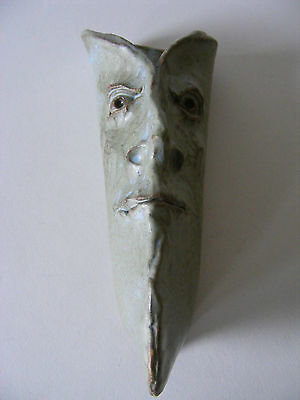 Sculptured Weird Face Wall Pocket Hand Modelled Stoneware Pottery