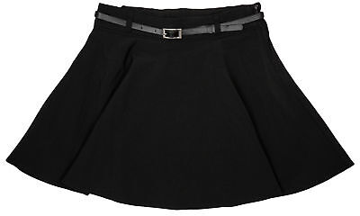 Girls Chainstore Black School Uniform Skater Skirt & Belt 5 to 9 Years NEW
