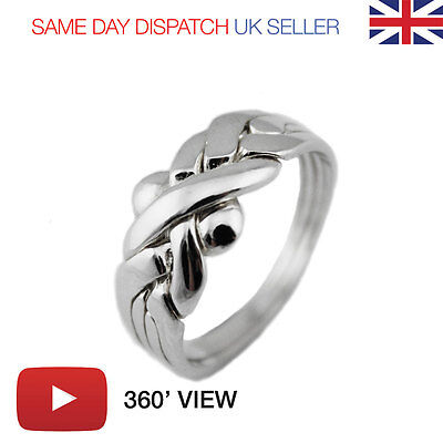 Puzzle Ring - 4 Bands Sterling Silver 925 (PLAY VIDEO) GIFT - next day delivery