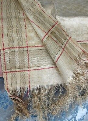 "Antique Damask Tan Turkey Red Stripe Linen Kitchen Hand Towel Fringe20x34""Unused"