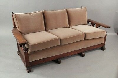 1920s Carved Wood Spanish Revival Sofa Antique Tudor Vintage Furniture (10311)