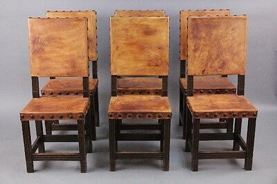 Set of 6 Tall Back Spanish Revival Leather Side Chairs Antique Dining (10310)