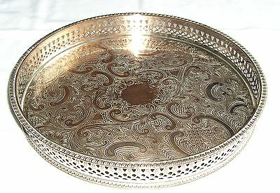 VINTAGE Silver Plated on Copper GALLERY TRAY Round Chased 25 cm
