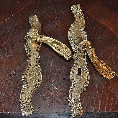 Antique Pair French Ornate Brass Door Handle Set and Backplates