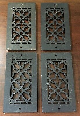 """4 Vintage  Cast Iron Wall Floor Vent Register Grille Cover Grate 10"""" x 5"""""""