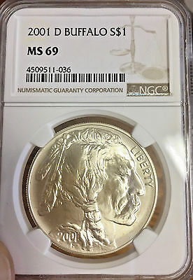 2001 D - Silver American Buffalo Commemorative Dollar - NGC MS-69
