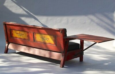 1930s Red Monterey Drop Arm Wood Sofa Antique Hand Painted Rancho Couch (10288)