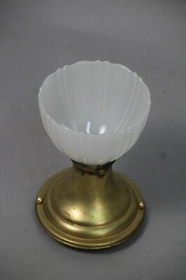 1930s Ceiling Mount Brass Fitter & Scalloped Glassed Shade Antique Light (10284)