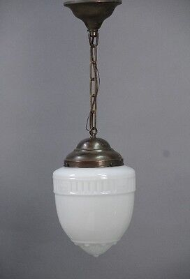 1930s Antique Pendant Light w Milk Glass Acorn Shade Vintage Lighting (10283)
