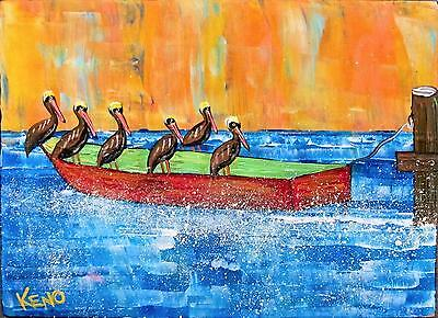 "PELiCANS on BOAT SHORE BiRD~8""x11""~KENO FOLK ART outsider~COASTWALKER~"
