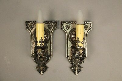 Pair 1920s Single Light Sconce Antique Spanish Revival Tudor Vintage (10314)