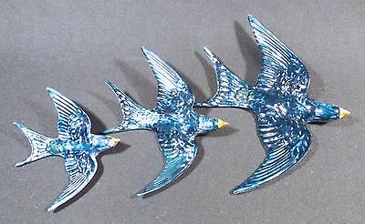 C.1940's Set Of 3 Beswick Wall Mounted Swallows Number 757, 1, 2, & 3 Vg Condn.