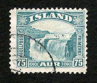 Iceland 1932 75a Gullfoss Waterfall Top Value #175 Fine+ Used