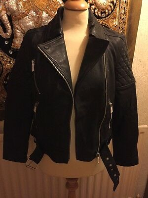 All Saints Allsaints Favel Black Leather Biker Jacket Size 12 Bnwt