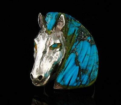 Johnny Blue Jay Signed RARE Hopi Carved Natural Turquoise Horse Head Silver Ring
