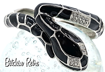 Black Snake Bracelet    Enamel and Silver Tone with Rhinestone Eyes and Scales