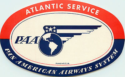 PAN AMERICAN AIRWAYS System ~ATLANTIC SERVICE~ Airline Luggage Label, c. 1955