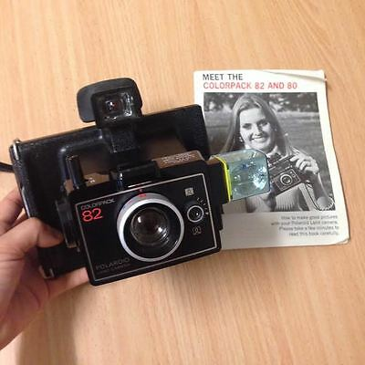 Vintage Camera Polaroid Colorpack 82 (Retro) With Leather Case & Manual