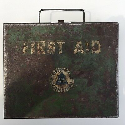 Antique Bell Telephone First Aid Kit- 1930's, Heavy Metal Box With Contents