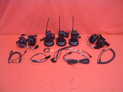 3 man Motorola CP200 UHF 4 channel racing radio system new wiring headsets etc
