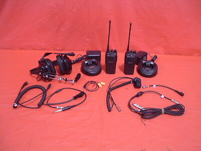 2 man Motorola CP200 UHF 4 channel racing radio system new wiring headsets etc