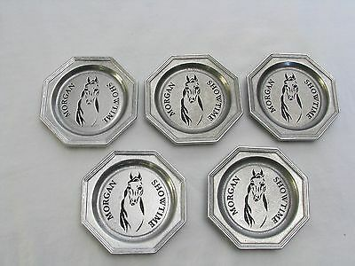5 Pewtarex Coasters, Morgan Horse Show Time, Beverage Coaster