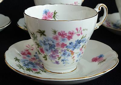 Set of SIX Regency English Bone China Cups & Saucers Pink Blue Flowers Floral